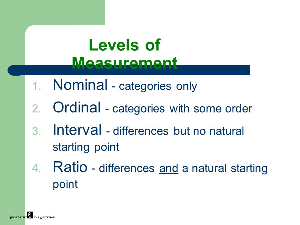 Levels of Measurement Nominal - categories only