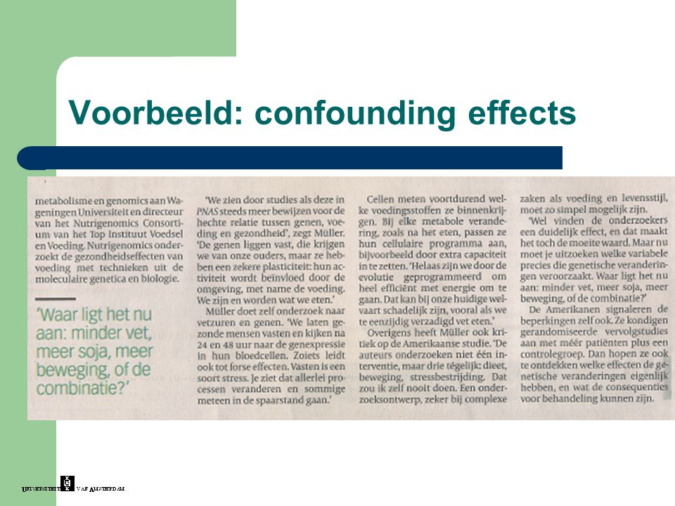 Voorbeeld: confounding effects