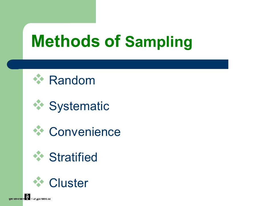 Methods of Sampling Random Systematic Convenience Stratified Cluster