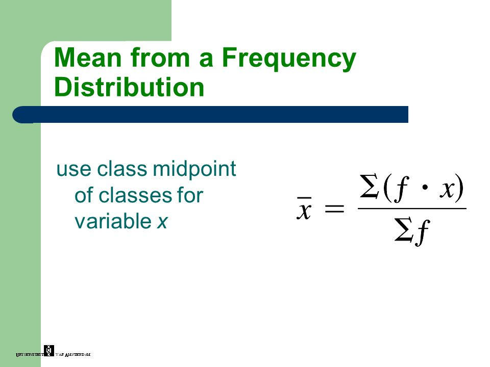 Mean from a Frequency Distribution