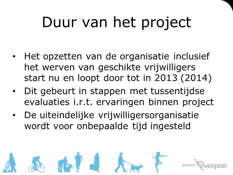 Duur van het project Het opzetten van de organisatie inclusief het werven van geschikte vrijwilligers start nu en loopt door tot in 2013 (2014)