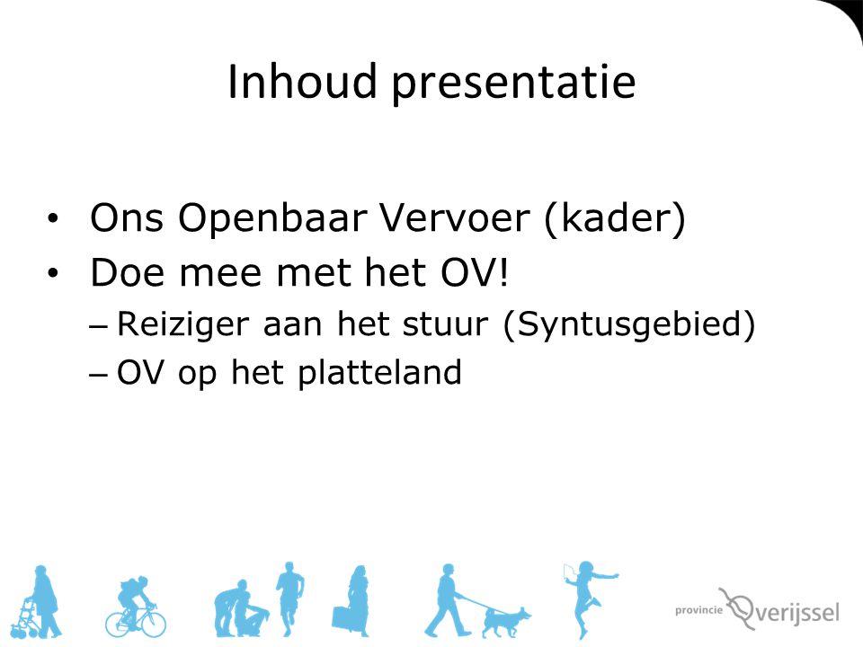 Inhoud presentatie Ons Openbaar Vervoer (kader) Doe mee met het OV!