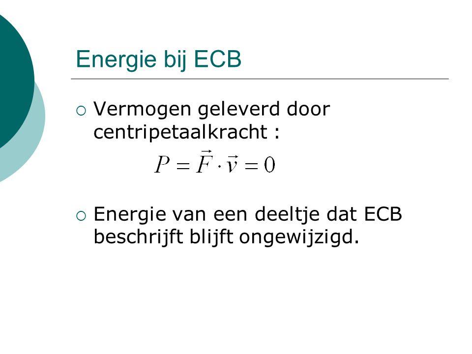 Energie bij ECB Vermogen geleverd door centripetaalkracht :