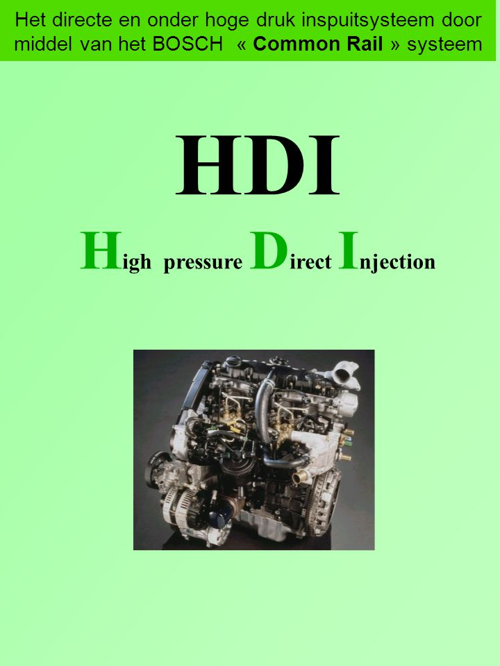 High pressure Direct Injection