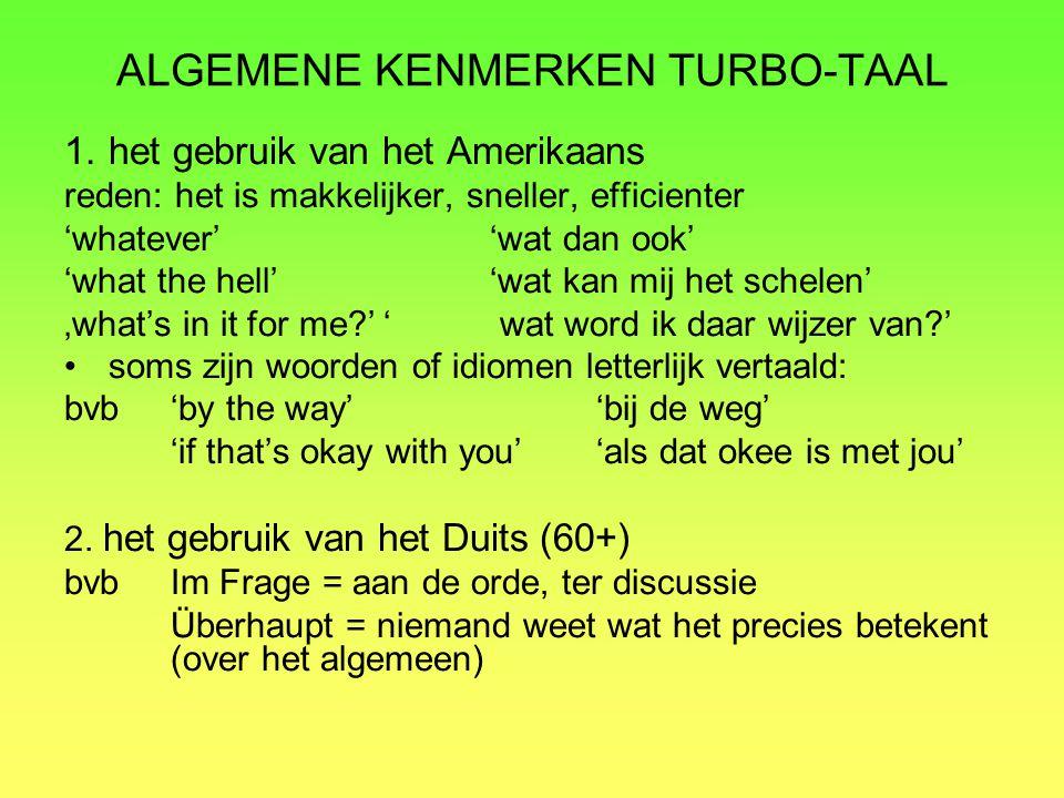 ALGEMENE KENMERKEN TURBO-TAAL