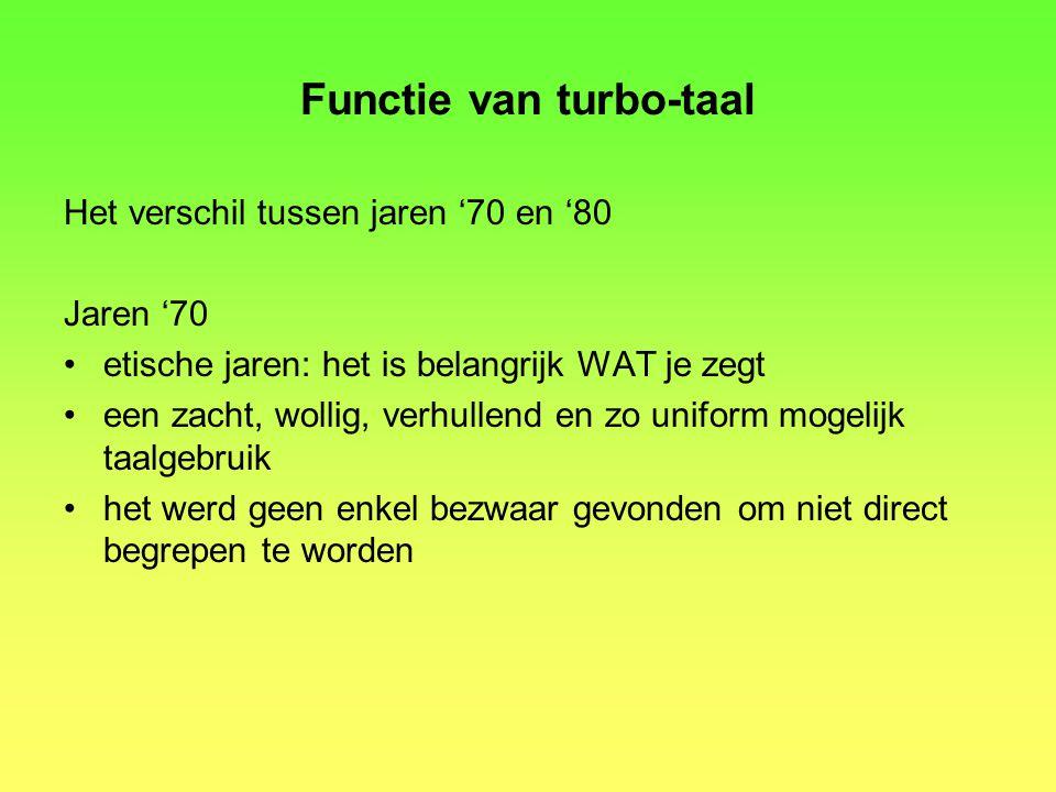 Functie van turbo-taal
