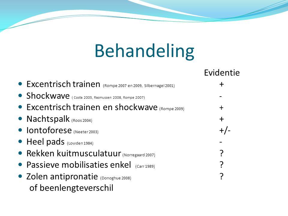Behandeling Evidentie. Excentrisch trainen (Rompe 2007 en 2009, Silbernagel 2001) + Shockwave ( Costa 2005, Rasmussen 2008, Rompe 2007) -