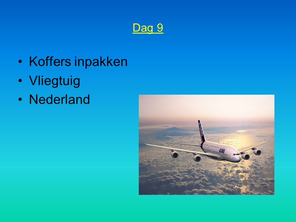 Dag 9 Koffers inpakken Vliegtuig Nederland
