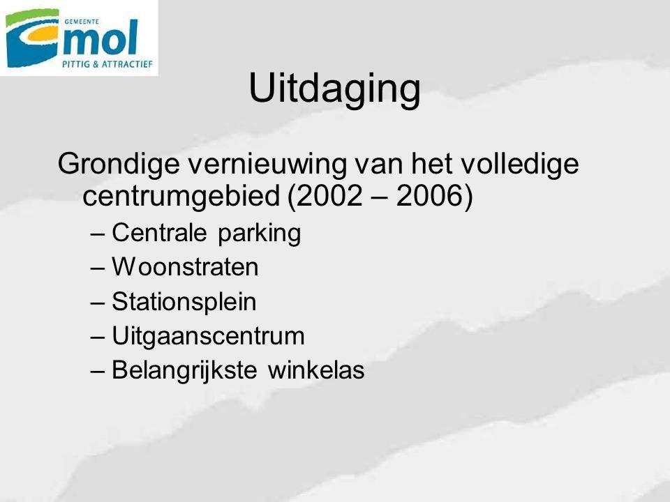 Uitdaging Grondige vernieuwing van het volledige centrumgebied (2002 – 2006) Centrale parking. Woonstraten.