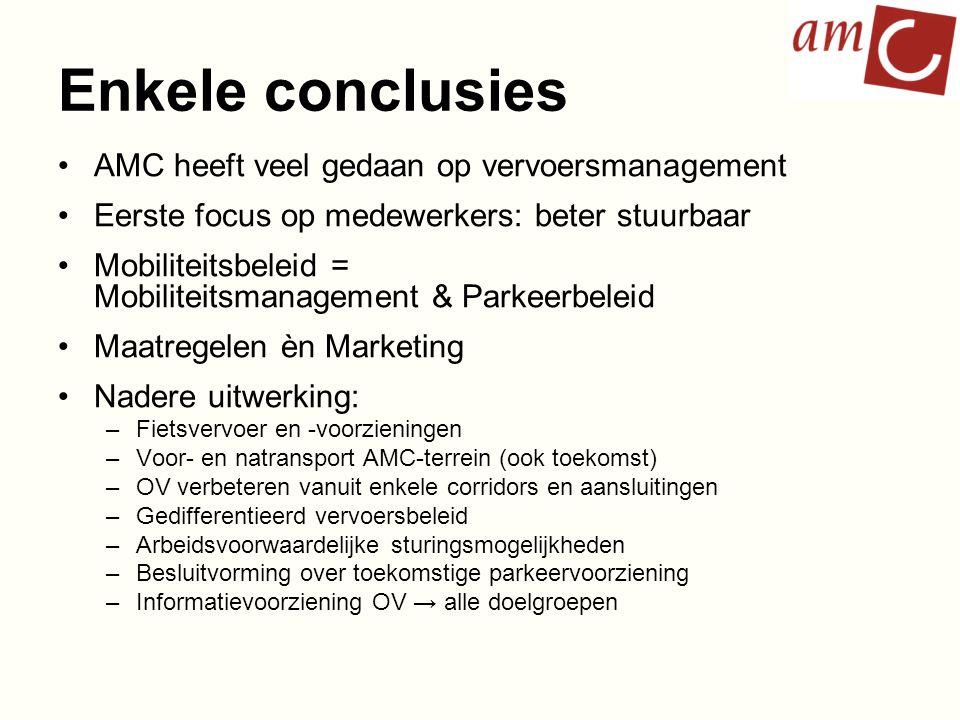 Enkele conclusies AMC heeft veel gedaan op vervoersmanagement