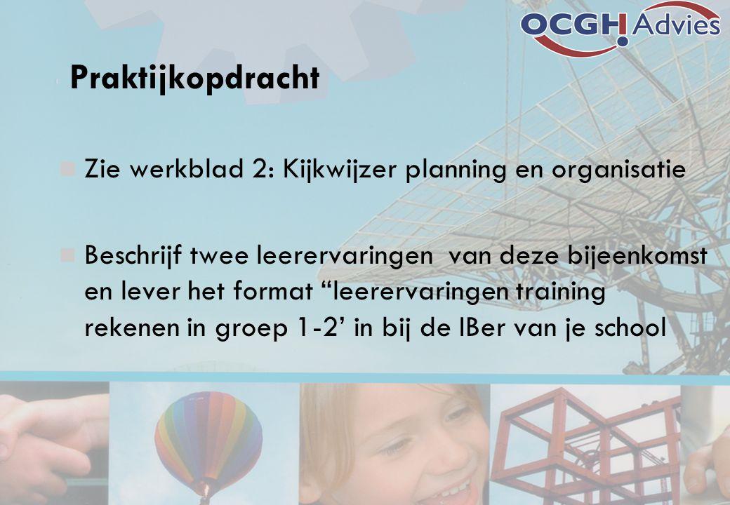Praktijkopdracht Zie werkblad 2: Kijkwijzer planning en organisatie