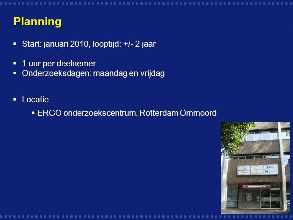 Planning Start: januari 2010, looptijd: +/- 2 jaar 1 uur per deelnemer