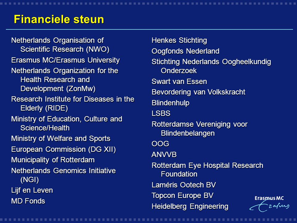 Financiele steun Netherlands Organisation of Scientific Research (NWO)