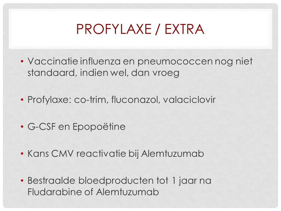 Profylaxe / extra Vaccinatie influenza en pneumococcen nog niet standaard, indien wel, dan vroeg. Profylaxe: co-trim, fluconazol, valaciclovir.