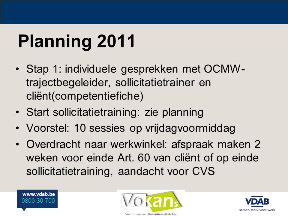 Planning 2011 Stap 1: individuele gesprekken met OCMW-trajectbegeleider, sollicitatietrainer en cliënt(competentiefiche)