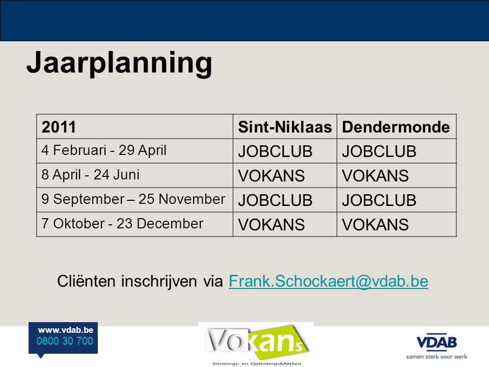 Jaarplanning 2011 Sint-Niklaas Dendermonde JOBCLUB VOKANS