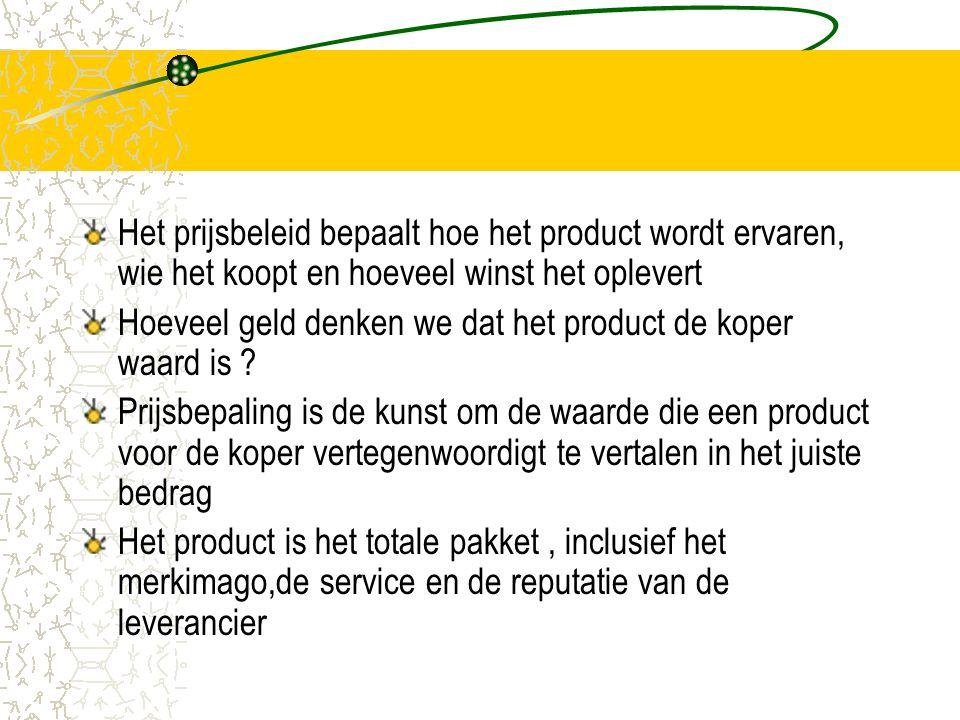 Het prijsbeleid bepaalt hoe het product wordt ervaren, wie het koopt en hoeveel winst het oplevert