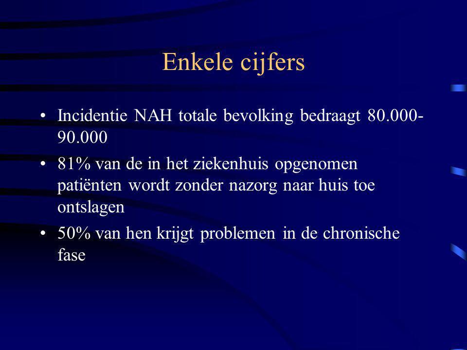 Enkele cijfers Incidentie NAH totale bevolking bedraagt 80.000-90.000