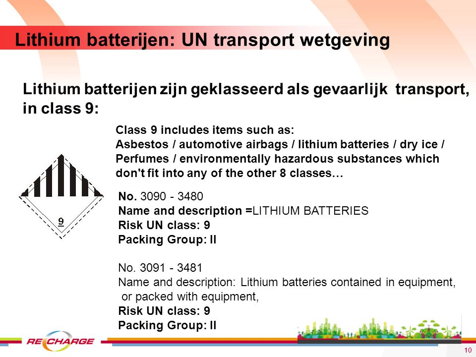 Lithium batterijen: UN transport wetgeving