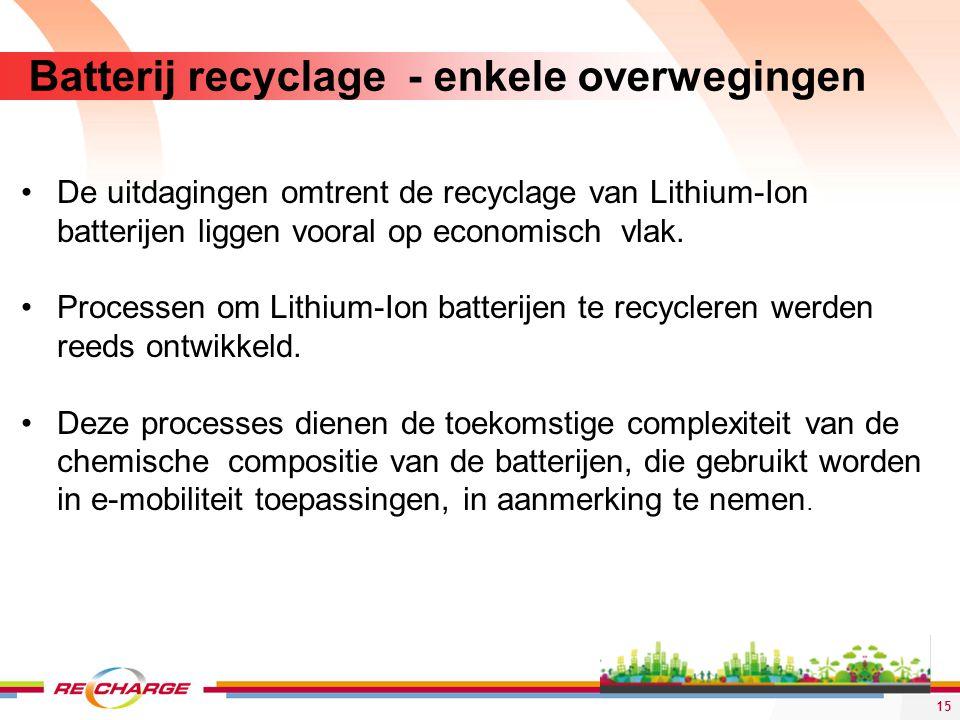 Batterij recyclage - enkele overwegingen