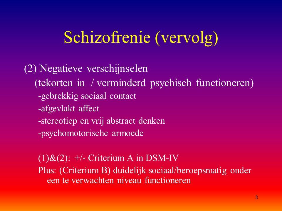 Schizofrenie (vervolg)