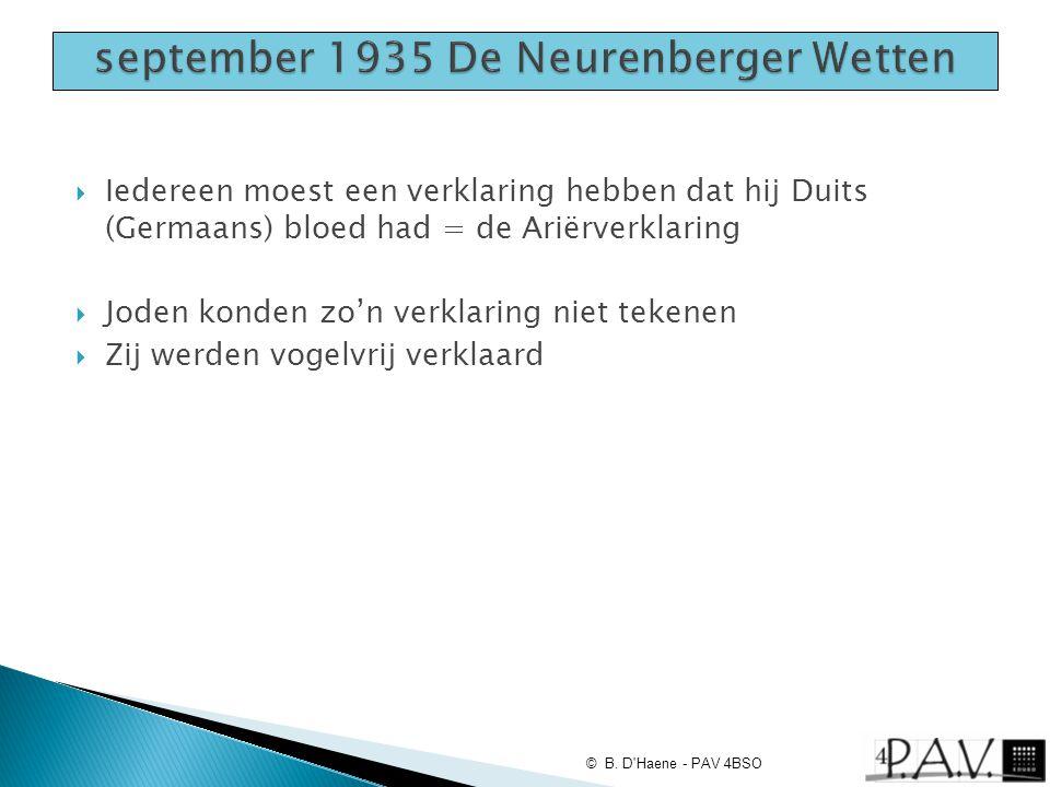 september 1935 De Neurenberger Wetten
