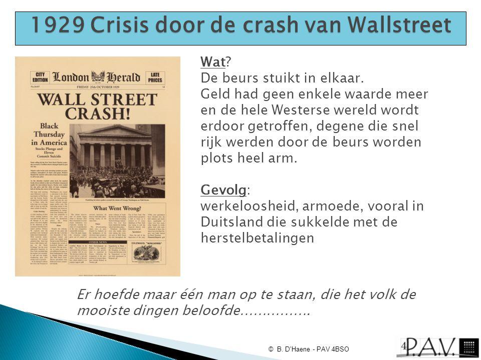 1929 Crisis door de crash van Wallstreet