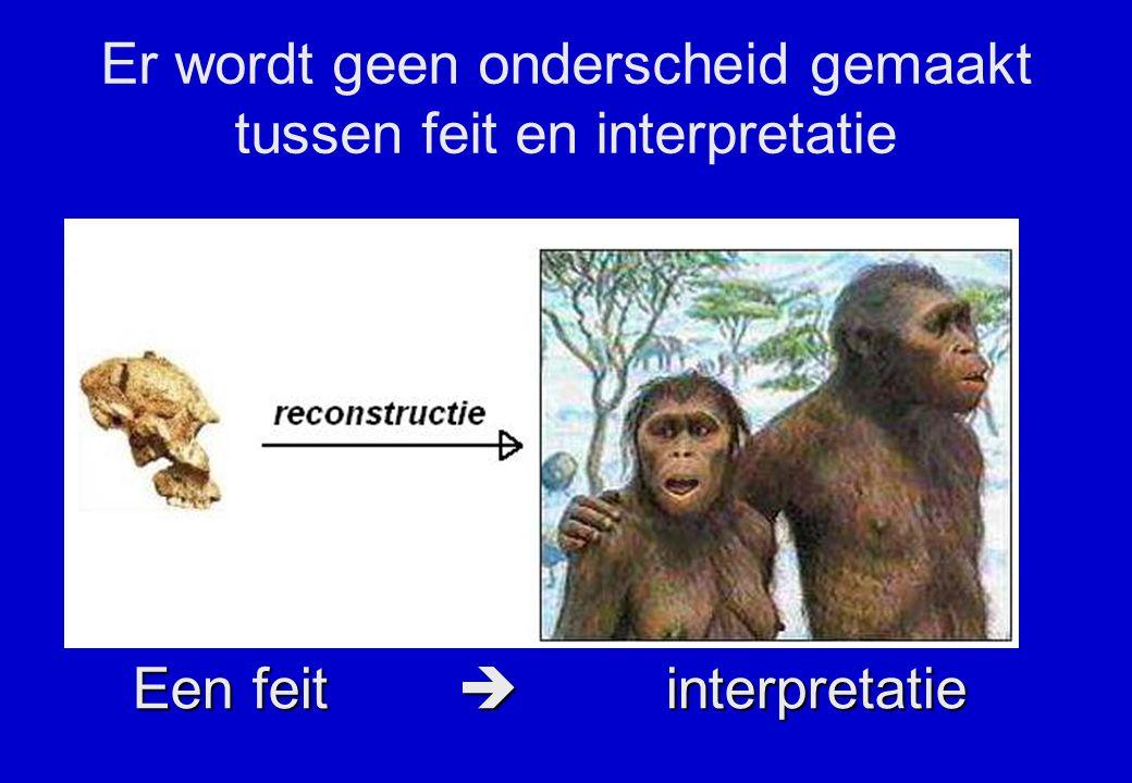 Er wordt geen onderscheid gemaakt tussen feit en interpretatie