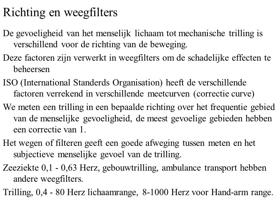 Richting en weegfilters