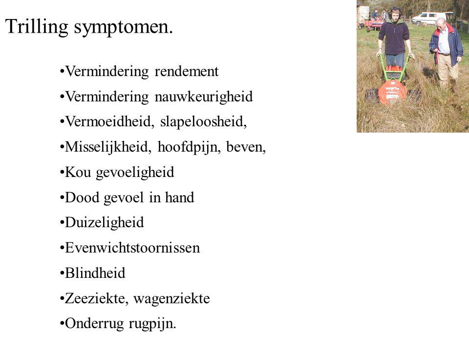 Trilling symptomen. Vermindering rendement
