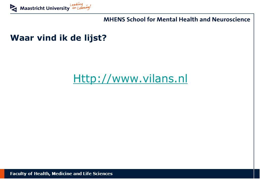 Waar vind ik de lijst Http://www.vilans.nl