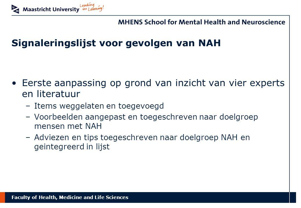 Signaleringslijst voor gevolgen van NAH