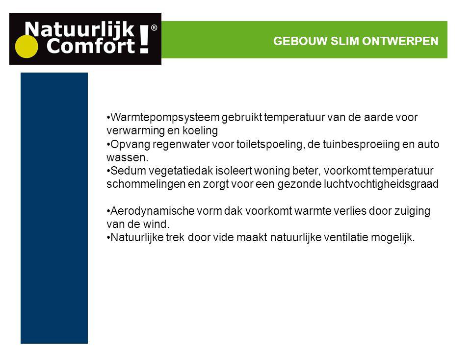 GEBOUW SLIM ONTWERPEN Warmtepompsysteem gebruikt temperatuur van de aarde voor verwarming en koeling.