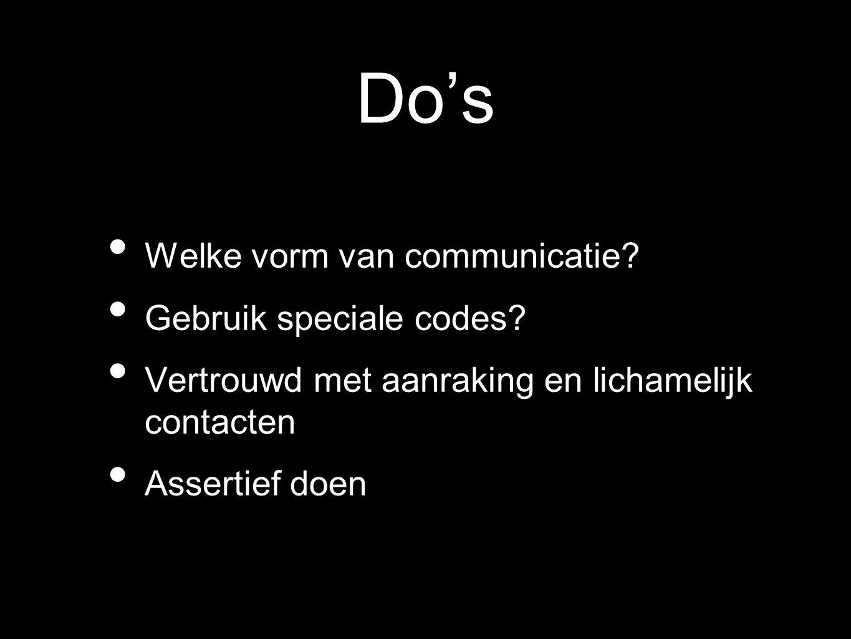 Do's Welke vorm van communicatie Gebruik speciale codes