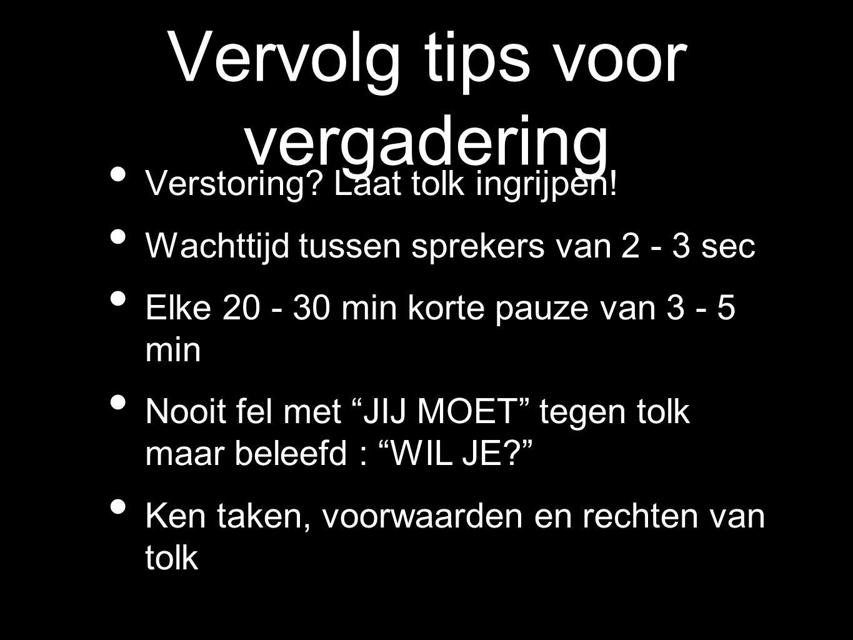 Vervolg tips voor vergadering