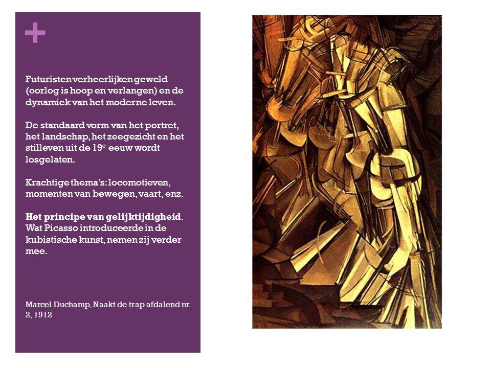 Futuristen verheerlijken geweld (oorlog is hoop en verlangen) en de dynamiek van het moderne leven. De standaard vorm van het portret, het landschap, het zeegezicht en het stilleven uit de 19e eeuw wordt losgelaten. Krachtige thema's: locomotieven, momenten van bewegen, vaart, enz. Het principe van gelijktijdigheid. Wat Picasso introduceerde in de kubistische kunst, nemen zij verder mee.