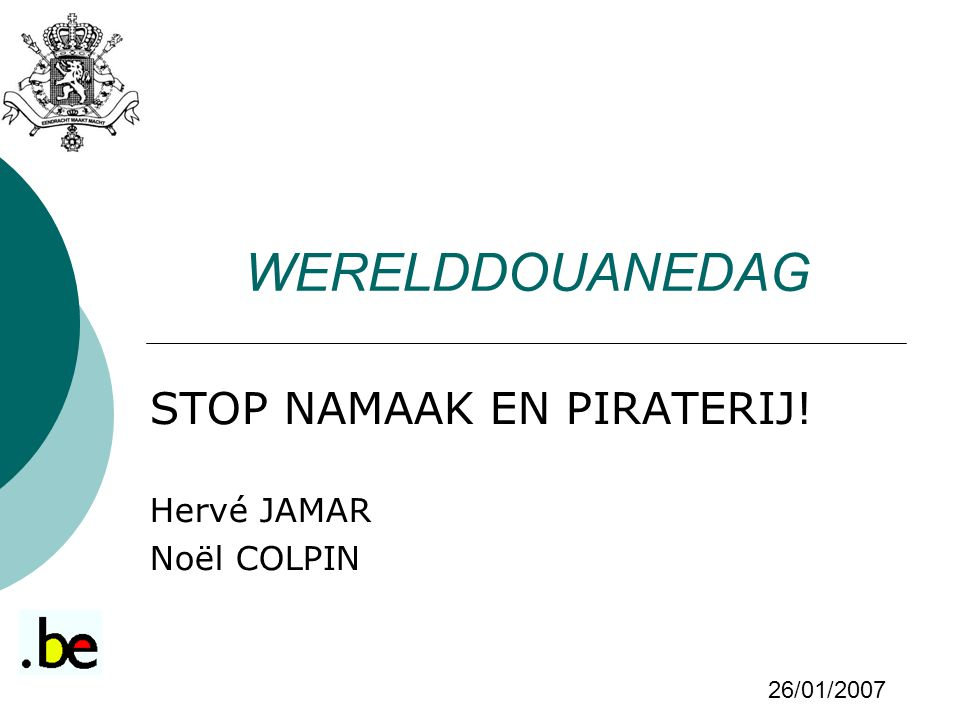 STOP NAMAAK EN PIRATERIJ! Hervé JAMAR Noël COLPIN