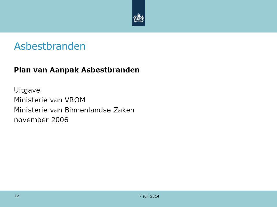 Asbestbranden Plan van Aanpak Asbestbranden Uitgave Ministerie van VROM Ministerie van Binnenlandse Zaken november 2006
