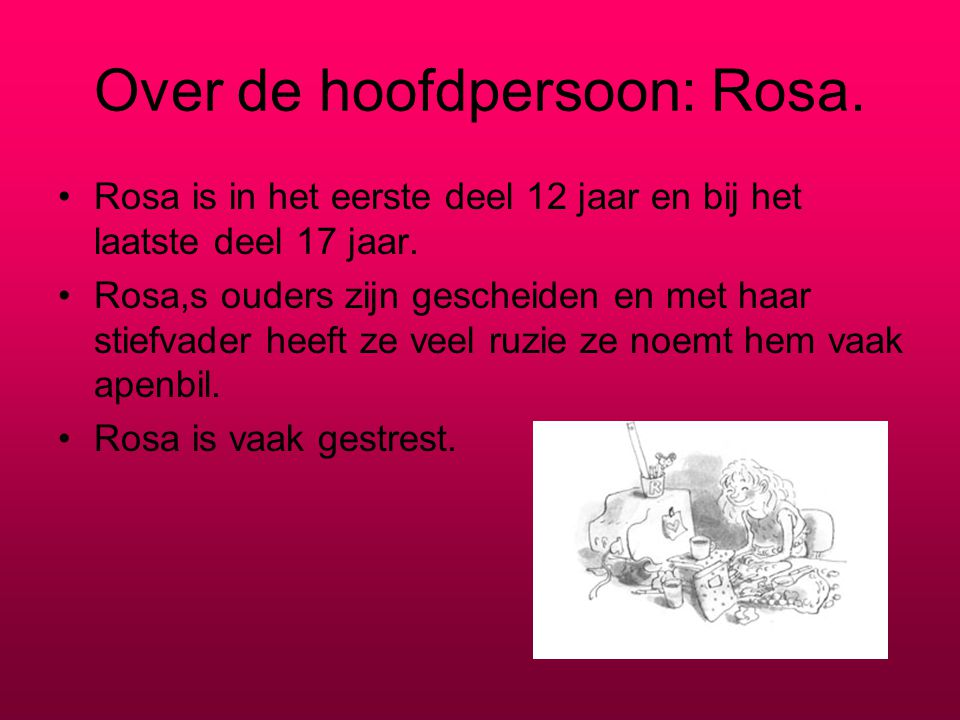 Over de hoofdpersoon: Rosa.
