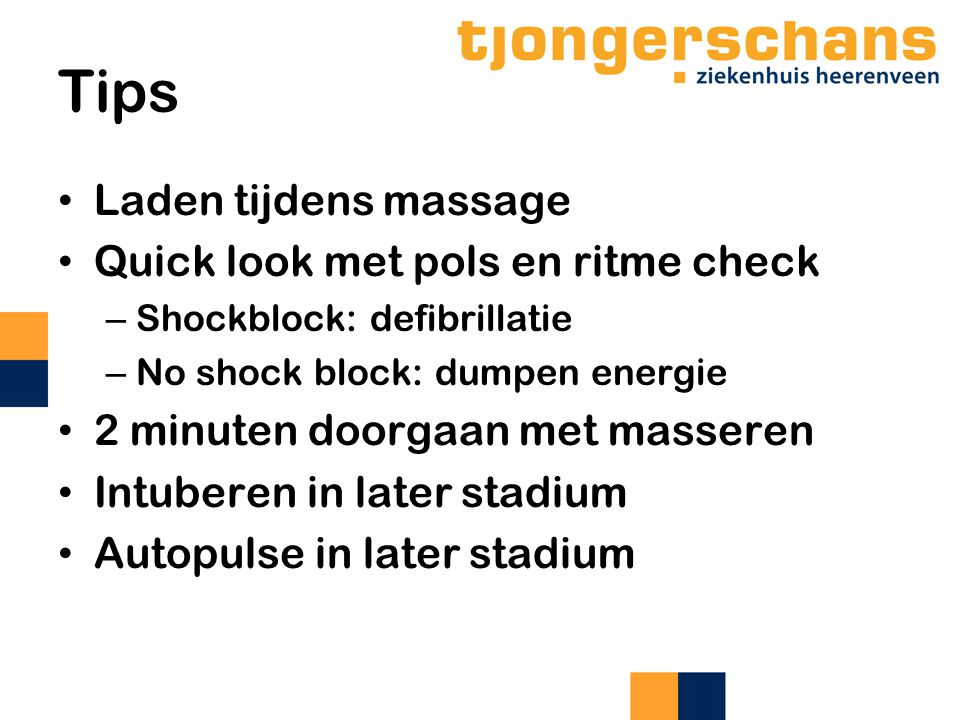 Tips Laden tijdens massage Quick look met pols en ritme check