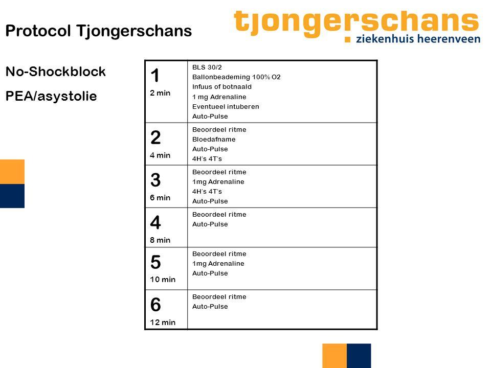 1 2 3 4 5 6 Protocol Tjongerschans No-Shockblock PEA/asystolie 2 min