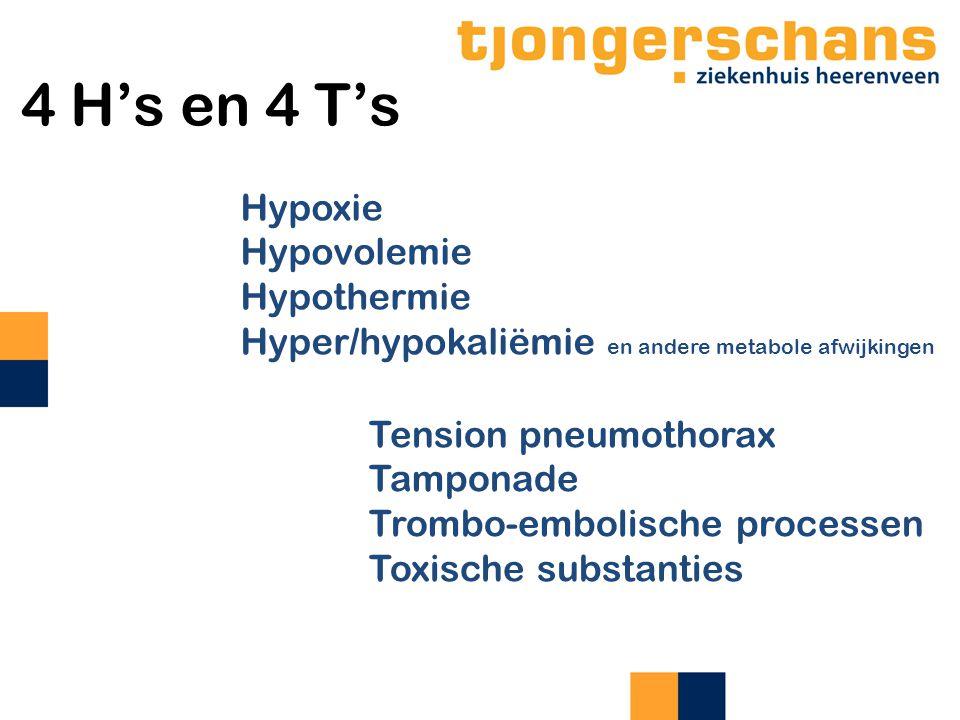 4 H's en 4 T's Hypoxie Hypovolemie Hypothermie