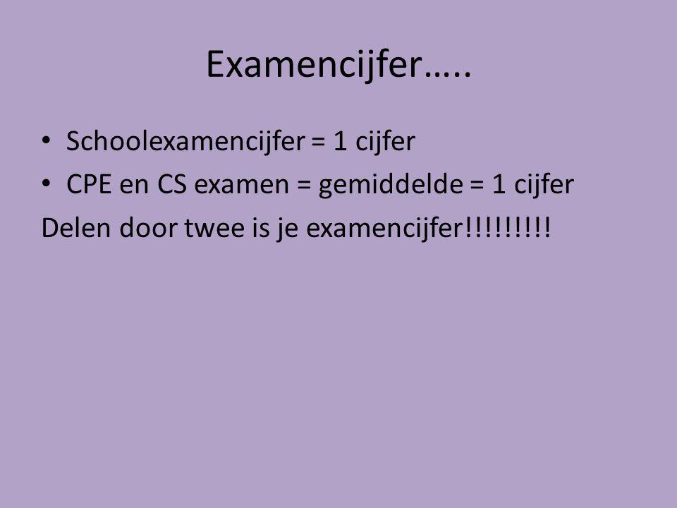 Examencijfer….. Schoolexamencijfer = 1 cijfer