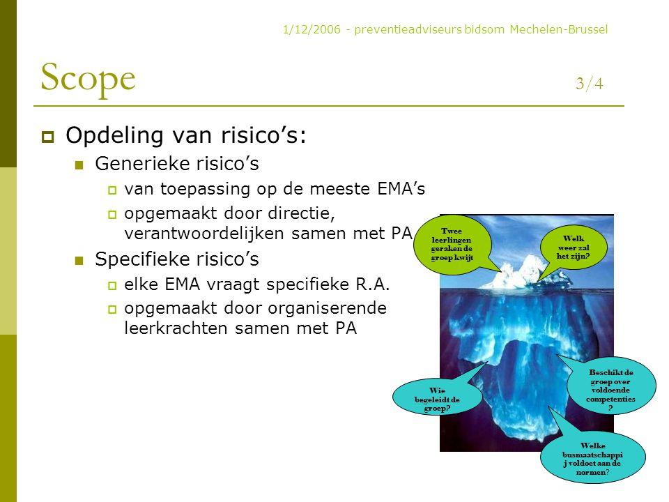 Scope 3/4 Opdeling van risico's: Generieke risico's