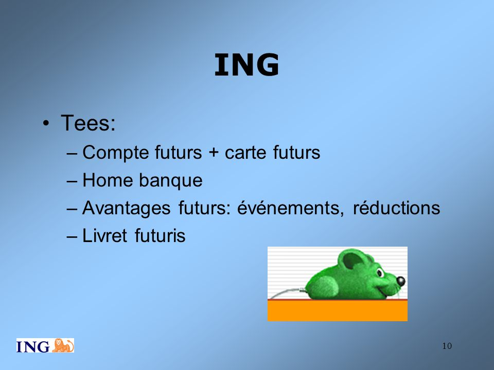ING Tees: Compte futurs + carte futurs Home banque