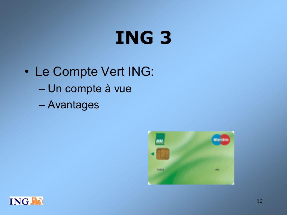 ING 3 Le Compte Vert ING: Un compte à vue Avantages