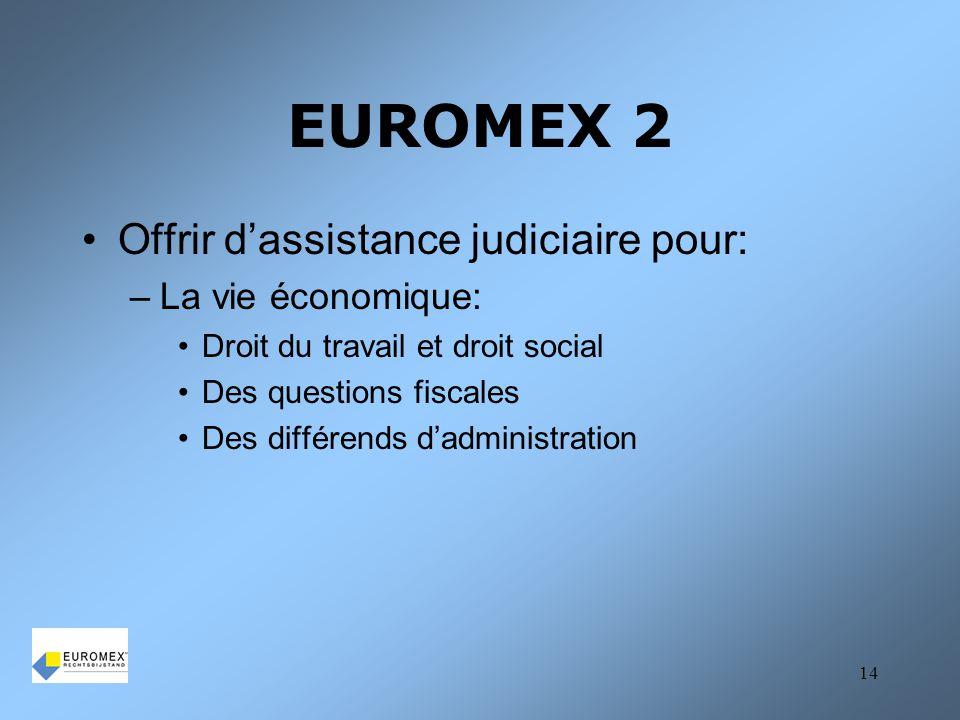 EUROMEX 2 Offrir d'assistance judiciaire pour: La vie économique: