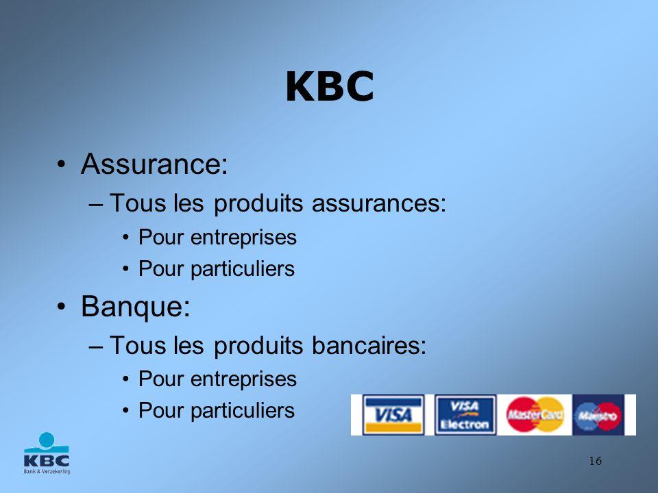 KBC Assurance: Banque: Tous les produits assurances:
