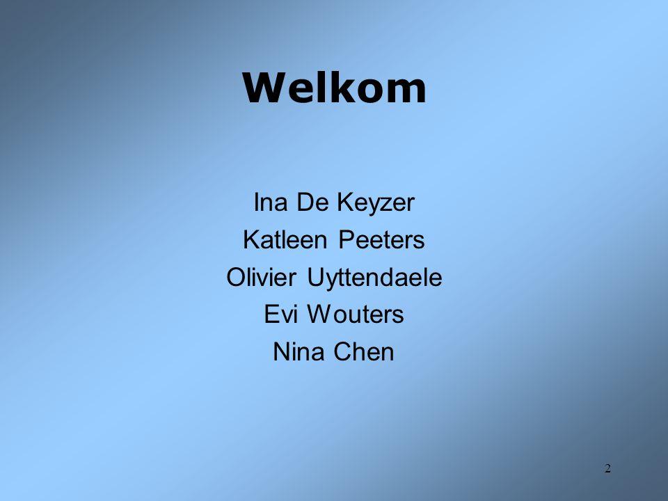 Welkom Ina De Keyzer Katleen Peeters Olivier Uyttendaele Evi Wouters