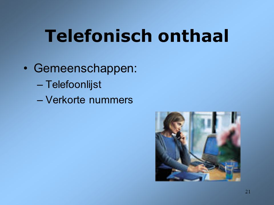 Telefonisch onthaal Gemeenschappen: Telefoonlijst Verkorte nummers